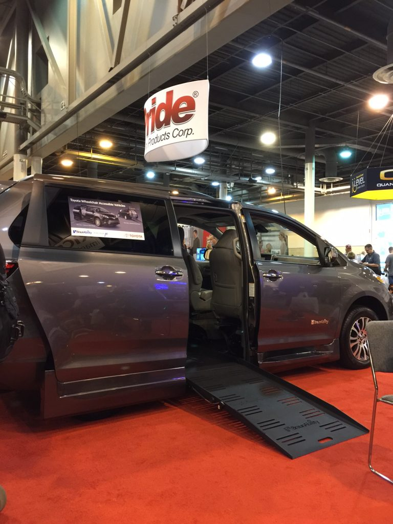 Toyota Sienna with side fold up ramp.